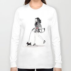 Houndstooth and a Scottie Watercolor Fashion Illustration Long Sleeve T-shirt