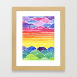 Let's Be Happy Watercolor Landscape Painting Framed Art Print
