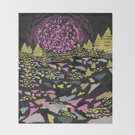 Trippy hills colorful Throw Blanket