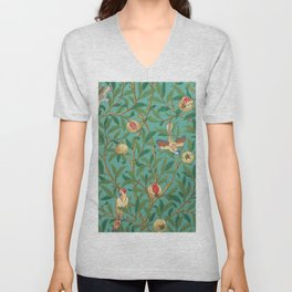 "William Morris ""Bird & Pomegranate"" 2. Unisex V-Neck"