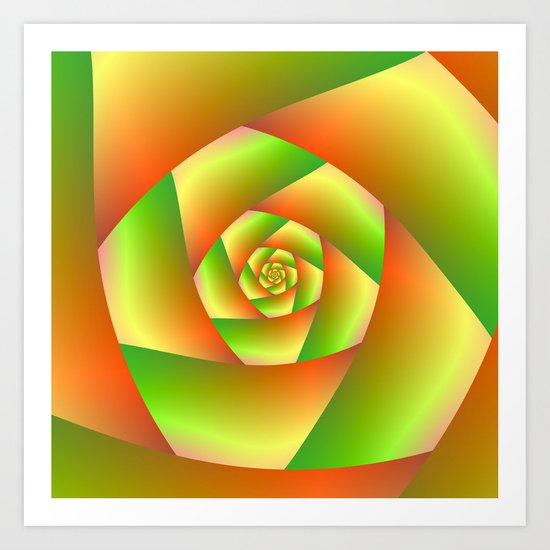 Spiral in Yellow Orange and Green Art Print
