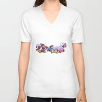 kirby V-neck T-shirts featuring Kirby Friends by Sara Goetter