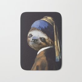 The Sloth with a Pearl Earring Bath Mat