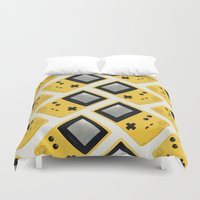 gameboy Duvet Covers featuring Gameboy Color: Yellow (Pattern) by Zeke Tucker