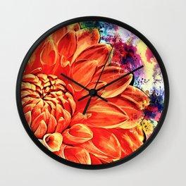 Psychedelic Dahlia Wall Clock