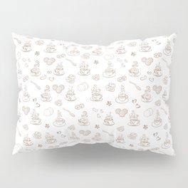 Tea time warm taupe on white Pillow Sham