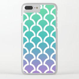 Classic Fan or Scallop Pattern 466 Green Blue and Lavender Clear iPhone Case