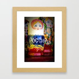 Traditional Russian Matryoshka Nesting Puzzle Dolls Framed Art Print