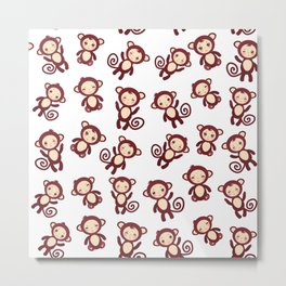 pattern with funny brown monkey boys and girls on white background. Vector illustration Metal Print