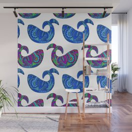 Colorful Whales Wall Mural