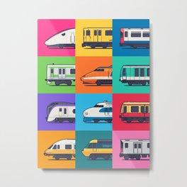 World Trains Grid Pattern Metal Print