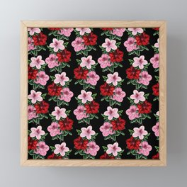 Pink Red Flowers On Black Framed Mini Art Print
