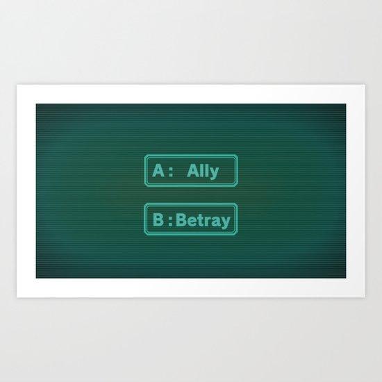 Ally Betray / Zero Escape - Virtues Last Reward Art Print