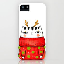 Winter kitty with antlers iPhone Case
