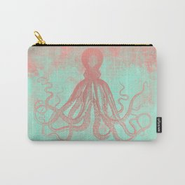Grunge Octopus in coral and mint Carry-All Pouch