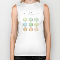 macaroon Biker Tanks featuring Macaroon sweet love by MiartDesignCreation