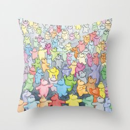 Time to dance! Hippo party illustration Throw Pillow