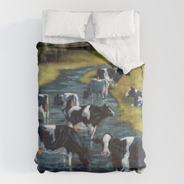Holstein Cows By The River, Hand Painted Farm Scene Comforters