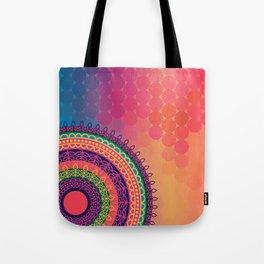 Ethnic Mandala on geometric pattern Tote Bag