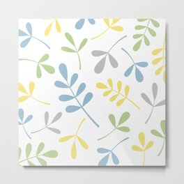 Assorted Leaf Silhouettes Blue Green Grey Yellow White Metal Print