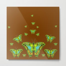 GREEN-YELLOW MOTHS ON COFFEE BROWN Metal Print