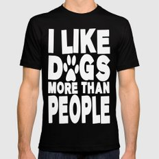 I Like Dogs More Than People  |  Dog Lover Black X-LARGE Mens Fitted Tee