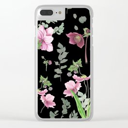 Spring flowers on black background Clear iPhone Case