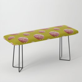 pine cone in olive green, purple and burgandy Bench