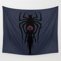 black widow Wall Tapestries featuring Black Widow by Williams Davinchi
