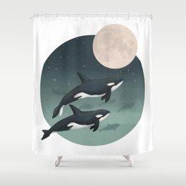 moonlight caravan // orcas Shower Curtain