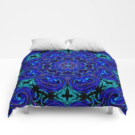 Bright Blue Kaleidoscope Comforters