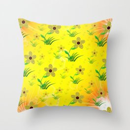 flower,abstract pattern in metal Throw Pillow