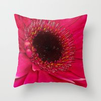 hot pink Throw Pillows featuring Hot Pink by Paul & Fe Photography