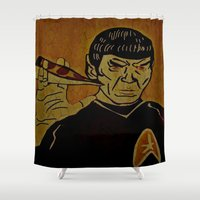 spock Shower Curtains featuring Spock Shock by Jide
