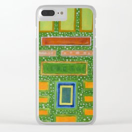 Filled Rectangles on Green Dotted Wall Clear iPhone Case
