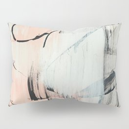 Sweet Tart: a minimal abstract mixed-media piece in pink black and white by Alyssa Hamilton Art Pillow Sham