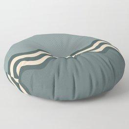 Night Watch & Alpaca Wool Cream Wavy Horizontal Stripes on Juniper Berry & Scarborough Green Floor Pillow