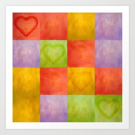 Colored Tiles with Hearts Art Print