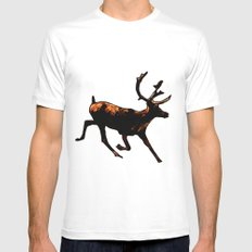 The Mighty Moose Mongoose Reindeer Elk Rentier Caribou White SMALL Mens Fitted Tee