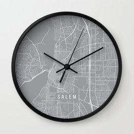 Salem Map, Oregon USA - Pewter Wall Clock