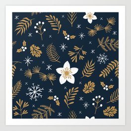 Christmas snowflakes foliage & flowers pattern Art Print