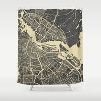 amsterdam Shower Curtains featuring Amsterdam by Map Map Maps