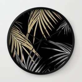 Gold Gray Palm Leaves Dream #1 #tropical #decor #art #society6 Wall Clock