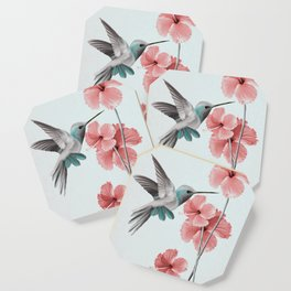 Hummingbird with Hibiscus Coaster
