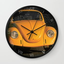 Love Bug, Bright Yellow Beetle bathed in evening sunlight Wall Clock