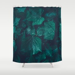 Dark emerald green ivy leaves water drops Shower Curtain