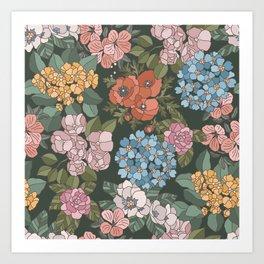 Colorful Botanic Flowers Art Print