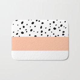 Elegant black toffee color watercolor polka dots  Bath Mat