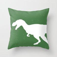 T- Rex Dinosaur Emerald Green  Throw Pillow