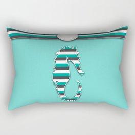 Teal Sea Horse Stripes Animal Design Pattern Rectangular Pillow